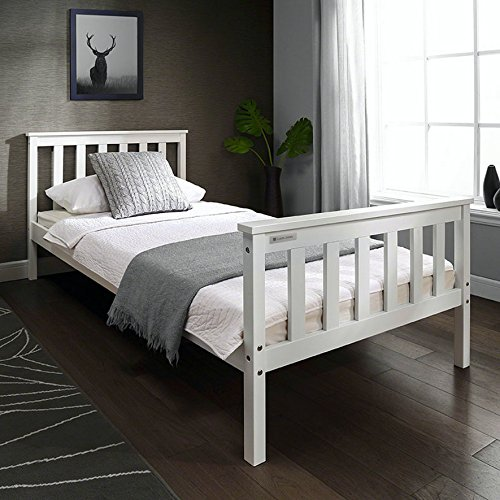 Single 3ft Wooden Bed Frame WHITE Solid European Wood for Adult Kids Child or Children (White)