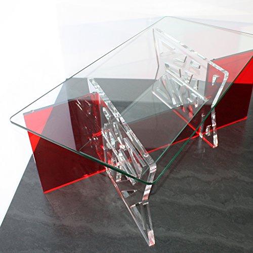 Table Basse en Plexi et plateaux en verre trempé, modèle Lucas, Rouge et Transparent (Plexiglas/Altuglas)