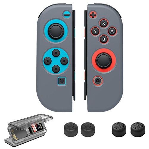 Nintendo Switch Zubehör Set, Taken Joy-Con Gel Protector Tasche Thumb Grip Caps Game Cards Case für Nintendo Switch,Grau