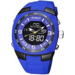 boamigo 3741 Multifunctional 3 ATM Waterproof Squared Dial Dual Movement Quarz & Digital dual-time Display Wrist Uhr mit Silikon Band and Luminous & stoporologio & Alarm & Week Display & Calendar Display FUNCTIONS (Blue)