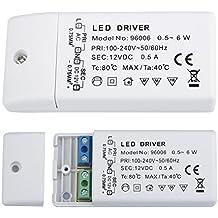 Liqoo® 0.5-6W LED Trafo Transformador del Conductor Eléctrico de Alimentación del Driver para Bombillas DC 12V G4 MR16 GU10 Tira de LED 0.5A Sin Carga