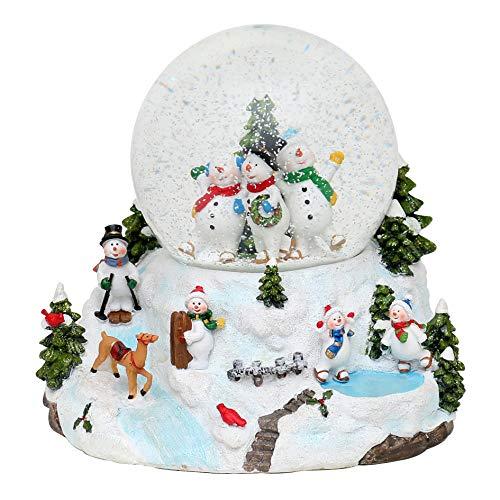 XXL Schneekugel, Schneemannfamilie mit Schneewirbel, Licht und Sound, Maße H/B/Ø Kugel: ca. 19 x 17,5 cm/ Ø 12 cm. -