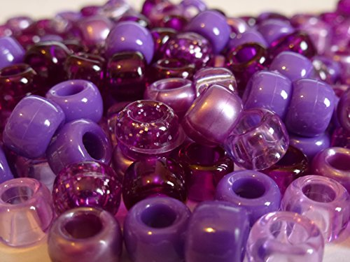 Pony 100 Stück, 9 mm x 6 mm, Dunkles Violett Berry-Opak MIX Armband Geflochten Loom Gummiringe Dummy Clips, Farbe des Schaftes: Kunststoff, Acryl, Rund, SCHMUCK-, Perlen Und Charms -