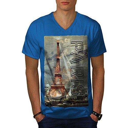wellcoda Licht Städtisch Eiffel Paris MännerV-Ausschnitt T-Shirt Wahrzeichen Grafikdesign-T-Stück (Stück Paris Center)