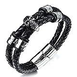 'Orfeo' colección por Vittore–piel de color negro trenzado pulsera de calavera con acero inoxidable hebilla magnética de cierre