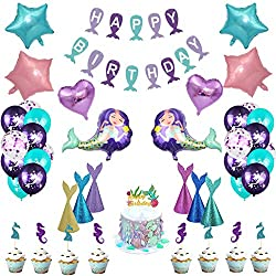 Tumao Meerjungfrau Thema Party Dekoration, 57 Stück Meerjungfrau Geburtstagsparty Dekorationen Meerjungfrau Latex Ballons Lila Konfetti Ballon für Mädchen Geburtstag Party Baby Shower Party Supplies.