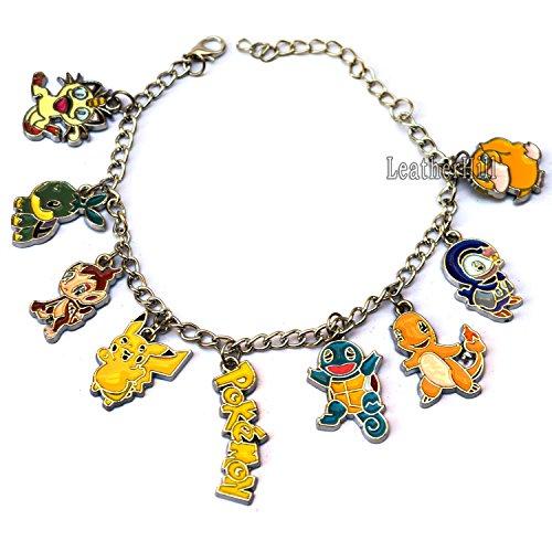9pc Pokemon Go braccialetto per la vendita, Pikachu, Meowth, Squirtle, Pokemon, Pokemon Psyduck, e logo Bracciale & # x25ba; Cyber Deal & # x25C4; Silver Etichettalia unica