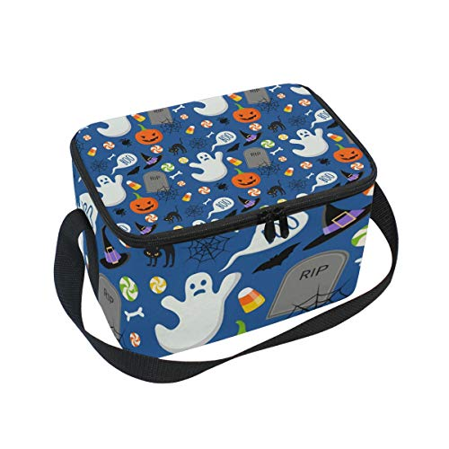 ALINLO Halloween-Cartoon-Geister-Kürbis-Lunchtasche, mit Reißverschluss, isolierte Kühltasche, Lunchbox, Mahlzeiten-Vorbereitung, Handtasche für Picknick, Schule, Damen, Herren, Kinder