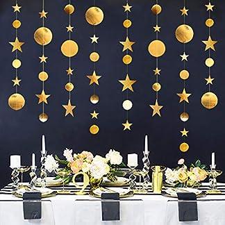 Yuccer Guirnalda de Papel, 3 Paquetes Guirnaldas Decorativas Papel Decoracion Colgante Pared para Cumpleaños Fiesta de Bienvenida al Bebé Boda de Navidad Fiesta de Año (Oro)