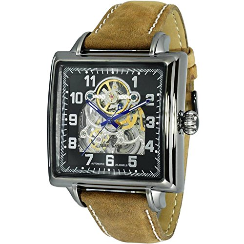 ADEE Kaye Men's Calfskin Band Steel CASE Automatic Watch AK8022-MGN-BKSV-BNS