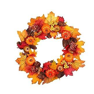anna-neek corona de otoño guirnalda de Navidad fiesta artificiales decoración, corona de flores de otoño diseño de arce y de la calabaza ideal decoración de vacaciones para casa, tienda, escritorio