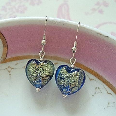 Diana Ingram blue gold Murano glass small heart (13mm) earrings