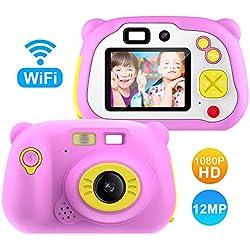 Appareil Photo pour Enfant, avec Carte TF 16 Go, Caméra Selfie Rechargeable Numérique pour Enfants, Ecran à 2 Pouces,Objectif HD 1200 mégapixels/1080P, Coque en Silicone Résistant aux Chocs(Rose)