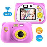 Lightswim Macchina Fotografica per Bambini con 16GB Carta TF Inclusa,Fotocamera Videocamera Digitale Portatile Obiettivo Doppio con Funzione Selfie,2 Pollici LCD,HD 1200 MP/1080P(Rosa)