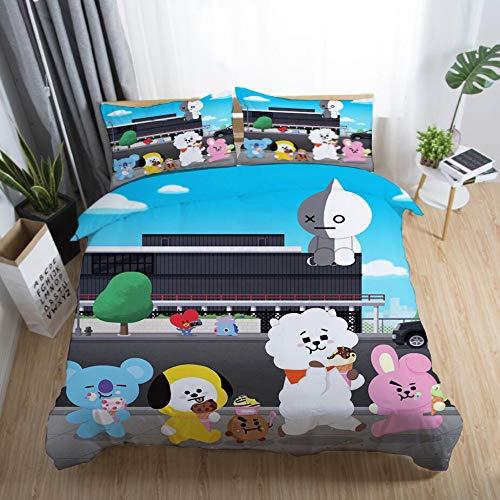 huyiming bed linings Verwendet für 3D-Digitaldruck Cartoon Anime BT21 Bettwäsche DREI oder Vier Sätze von Quilt Kissenbezug Heimtextilien BT21 12 228x228 Dreiteiliges Set -