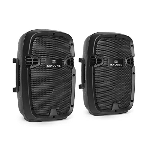 Malone PW-2108A aktives PA-Lautsprecherboxen 300 Watt PA-Boxen Paar (2x 20cm (8 Zoll) Subwoofer, 2x 150W RMS, 2-Wege, XLR- und Klinke Eingänge) schwarz (Paar 8-zoll-subwoofer)