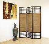 Homestyle4u 62, Paravent Raumteiler, Faltbar Blickdicht, Holz Bambus Reispapier, Braun, 3 teilig