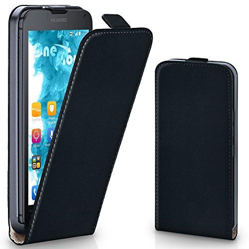 moex Huawei Ascend Y300 | Hülle Schwarz 360° Klapp-Hülle Etui thin Handytasche Dünn Handyhülle für Huawei Y300 Case Flip Cover Schutzhülle Kunst-Leder Tasche