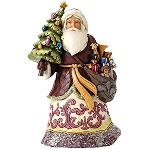 Enesco Hearwood Creek By Jim Shore Hwc Babbo Natale con Albero, Pvc, Multicolore, 12x19x20.5 cm - Enesco Natale