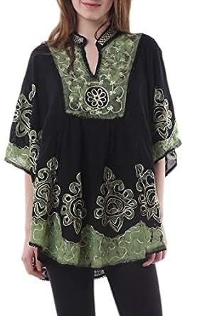 Skirts & Scarves Women's Batik Embroidered Indian Poncho/Kaftan/Top (Black & Green)