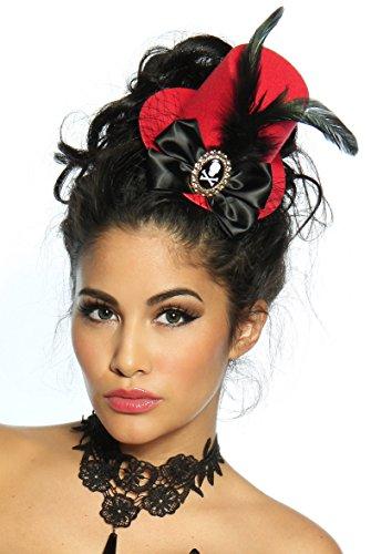 Fashion Mujer Mini de Cilindro Sombrero de Fieltro––Tocado con Plumas y Tul–Negro/Rojo (12627)