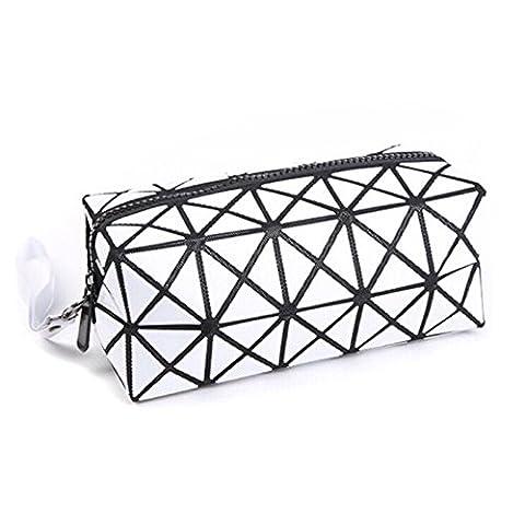 (Blanc) Sac à bandoulière cosmétique pour le maquillage, Geometric Foldable Rhombus Folding Grid Cube Handbag, Maquillage Tool Storage Pouch Purse Toiletry Bag Organizer