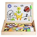 Irady Magnetischen Puzzle Tafel Doppelseitige Magnet Doodle Jigsaw Puzzles Magnetisches Holzpuzzles Zeichnung Holzbrett Lernspiel Spiel für Kinder