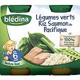 Blédina - Légumes verts, riz et saumon, dès 6 mois - Les 2 pots de 200g - (pour la quantité plus que 1 nous vous...
