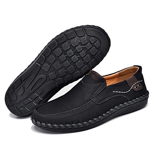 Phefee Hommes Casual Oxfords en Cuir Chaussures Robe Mocassins Chaussures Business Plat Chaussures de Conduite Pour Hommes Noir