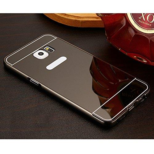 """Coque pour Apple iPhone 6 Plus / 6S Plus 5.5"""" - Yihya Ultra-Fine Amovible Housse Miroir Arrière Design Aluminium Métal Bumper Frame Etui de protection PC Hard Back Case Cover--Or Noir"""