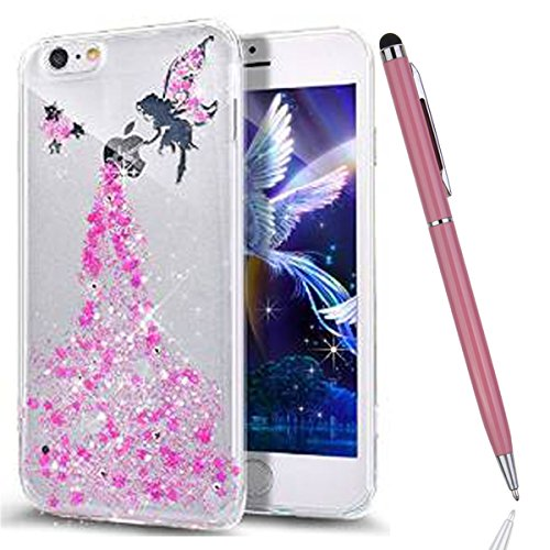 iPhone 6 Plus Hülle,iPhone 6S Plus Bling Case - Felfy Luxe Ultradünnen Weich Silikon TPU Silikon Handy Hülle Schutzhülle Durchsichtig Bling Glitzer Sparkles Shiny Case Kratzfest Bumper Soft Rückseite  Rosa Engel