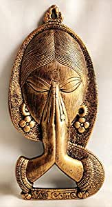 Akriti Brass Art Wares Welcome Namaste Lady Metal Hanging Religious Metal Wall Decor Showpiece Hanging Entrance Gate Decor (14 x 2 x 28 cm, Antique)