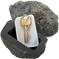 Hide-A-SPARE-Key Fake Rock–ve gerçek gibi hissedilir Stone–güvenli Outdoor Bahçe için veya Hof görünür, Geocaching Siyah
