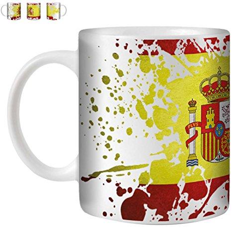 STUFF4 Tasse de Café/Thé 350ml/Espagne/Drapeau Splat Pays/Céramique Blanche/ST10