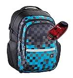 All Out Schulrucksack mit Verstellbarem Tragesystem und LED-Sicherheitslicht - Viele Farben und Dessins (Blue Pixel)