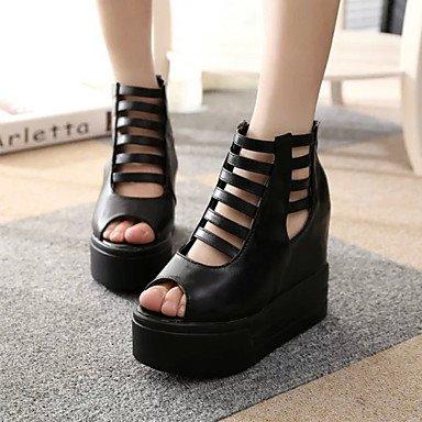 LvYuan Damen-Sandalen-Kleid Lässig-PU-Flacher Absatz Keilabsatz Creepers-Komfort-Schwarz Weiß Black