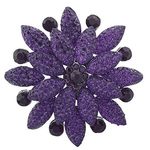 Lux Accessoires Violet Pave et pierre de cristal Bling Fleurs floral Broche