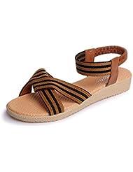 VJGOAL Sandalias para Mujer Zapatos Planos Abiertos con Punta de Dedo Bohemia a Rayas Casual Zapatos Romanos al Aire Libre