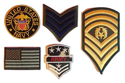 B2see patch toppe militari americane us-a army sergente applicazioni termoadesive ricamo da cucire navy seals per stoffa jeans vestiti tessuti 5 pezzi