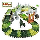 PL Pista Macchinine Giocattolo con Dinosauro Pista Flessibile Giocattolo Giocattoli Piste Macchinine per Bambini Ragazza Ragazzo 3 4 5 6 Anni, 142 Pezzi