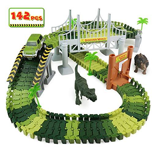 PL Circuit Voiture Enfant Dinosaure Flexible Tracks Car Jouet de Piste 142Pièces Cadeau Garcon Fille 3 4 5 6 Ans