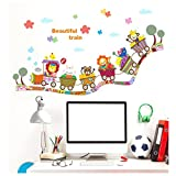 Stickers Muraux,LUCKYCAT Nouveau Bricolage Mural Stickers Fond D'écran Sticker mural Cartoon Animaux Train Applique (A)