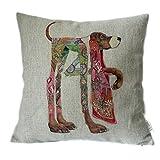 Elviros Lino y Algodón Blend Decorativo Funda de Cojínes 45x45 cm [18x18'' pulgadas] - Perro