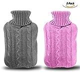 Wärmflasche 2 pack,Gifort Wärmflasche 2 Liter mit bezug,Abnehmbare und waschbare Wärmflasche mit gestrickter Abdeckung (Rosa und Grau)