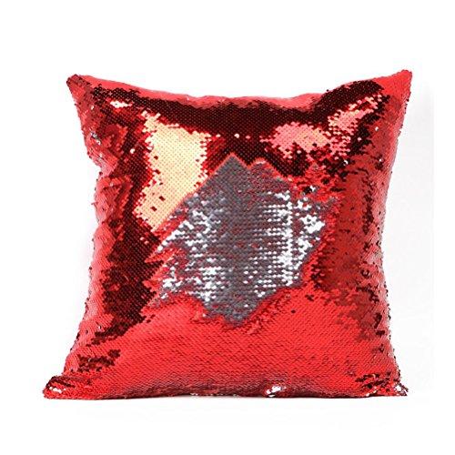 NUOLUX DIY-Two Tone Glitzer Pailletten Wurfkissen Fällen und Abdeckungen Farbwechsel Skala Euro dekorative Hause Kissen Sofa Kissenbezug (rot) (Kissen-abdeckungen 2 Dekorative)
