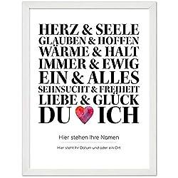 Personalisiertes Poster, DU und ICH, Größe 40x30 cm, BILD MIT RAHMEN (weiß) Geschenk für Sie oder Ihn zum Hochzeitstag, Valentinstag, Jahrestag oder als Liebeserklärung