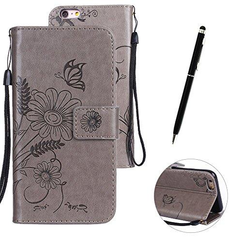 Custodia in pelle per iPhone 6 Plus,per iPhone 6S Plus Cover, Zcro Stile Elegante di Cuoio Magnetica Flip del Libro Fiori Farfalla Custodia Portafoglio Case con Titolare della Carta Cinturino Nero Gra Grigio