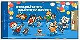 Grusskarte & Schweizer Premium Schokolade - Mainzelmännchen Orchester Glückwunsch