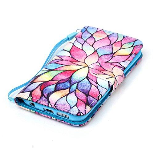 Meet de Samsung Galaxy S6 Edge Bookstyle Étui Housse étui coque Case Cover smart flip cuir Case à rabat pour Galaxy S6 Edge Coque de protection Portefeuille - this iphone is locked slide to unloke couleur Lotus