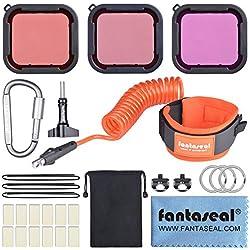 Accessoires de Plognée pour Gopro, Filtre Professionnel+Dragonne Gopro, Kit de Filme sous Mer de Gopro, Anti-Perdu Kit de Plongée pour Gopro Hero 7/6/5 Sony Action Camera, DSLR, Caméscope, etc.